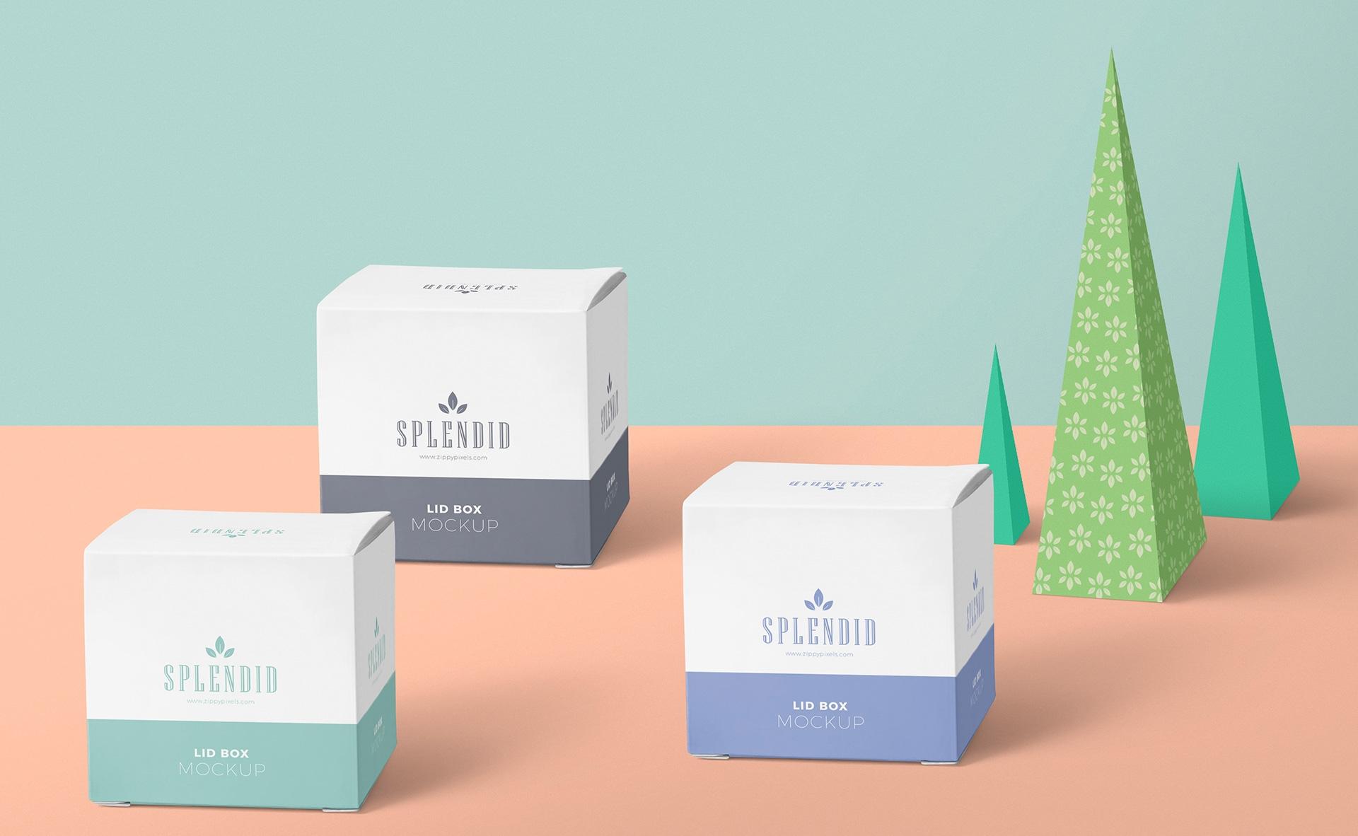 多场景包装盒积木样机展示  素材样机149-Paper Box Mockup PSD