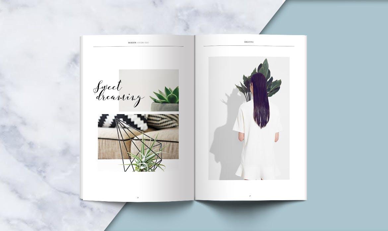 绿植画册杂志设计展示模板Clean Magazine