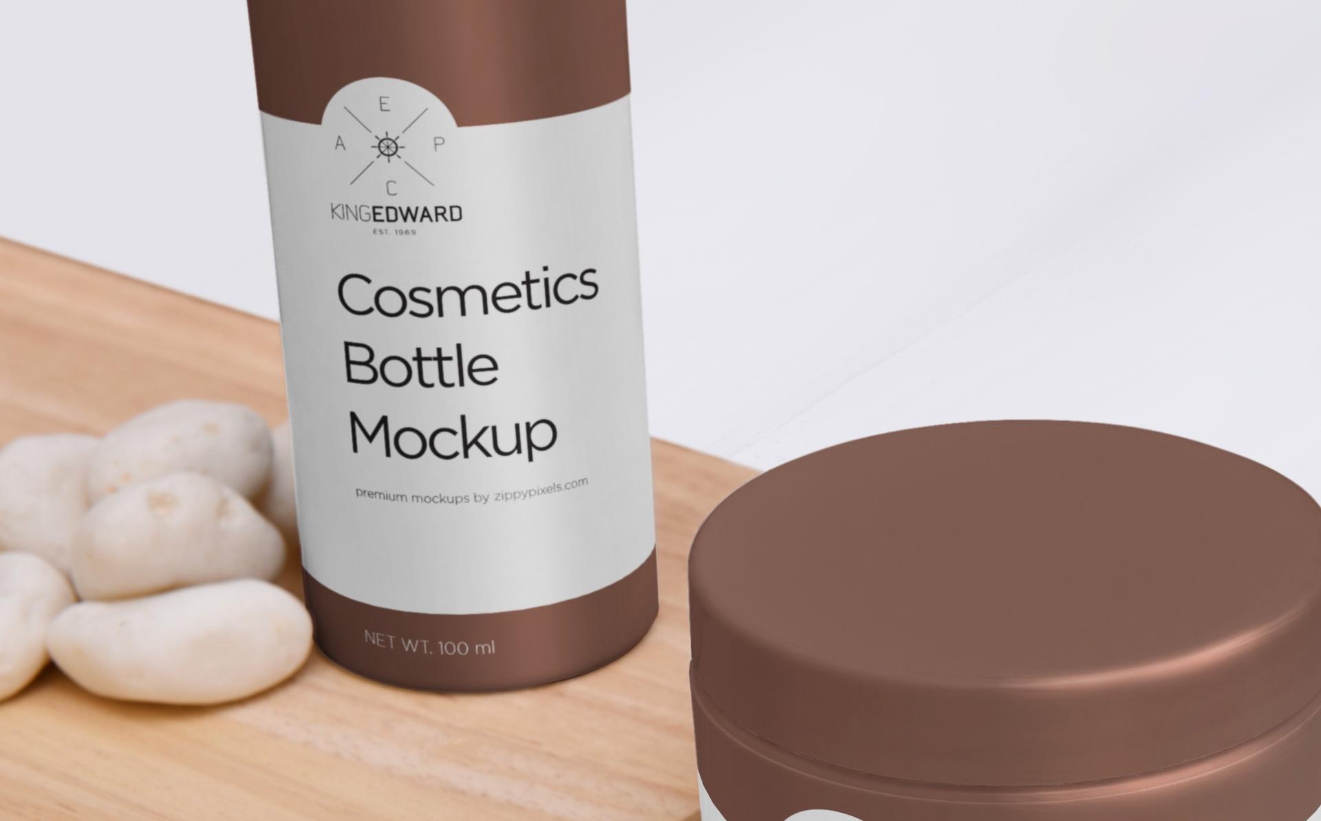 精致化妆品瓶样机组合  场景样机Cosmetic Bottle Mockup1