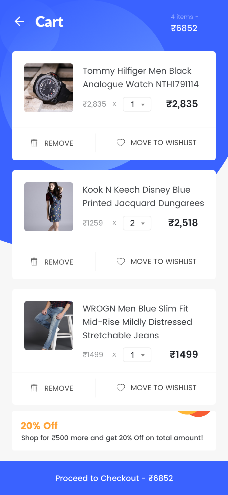 一款扁平风蓝色购物车UI