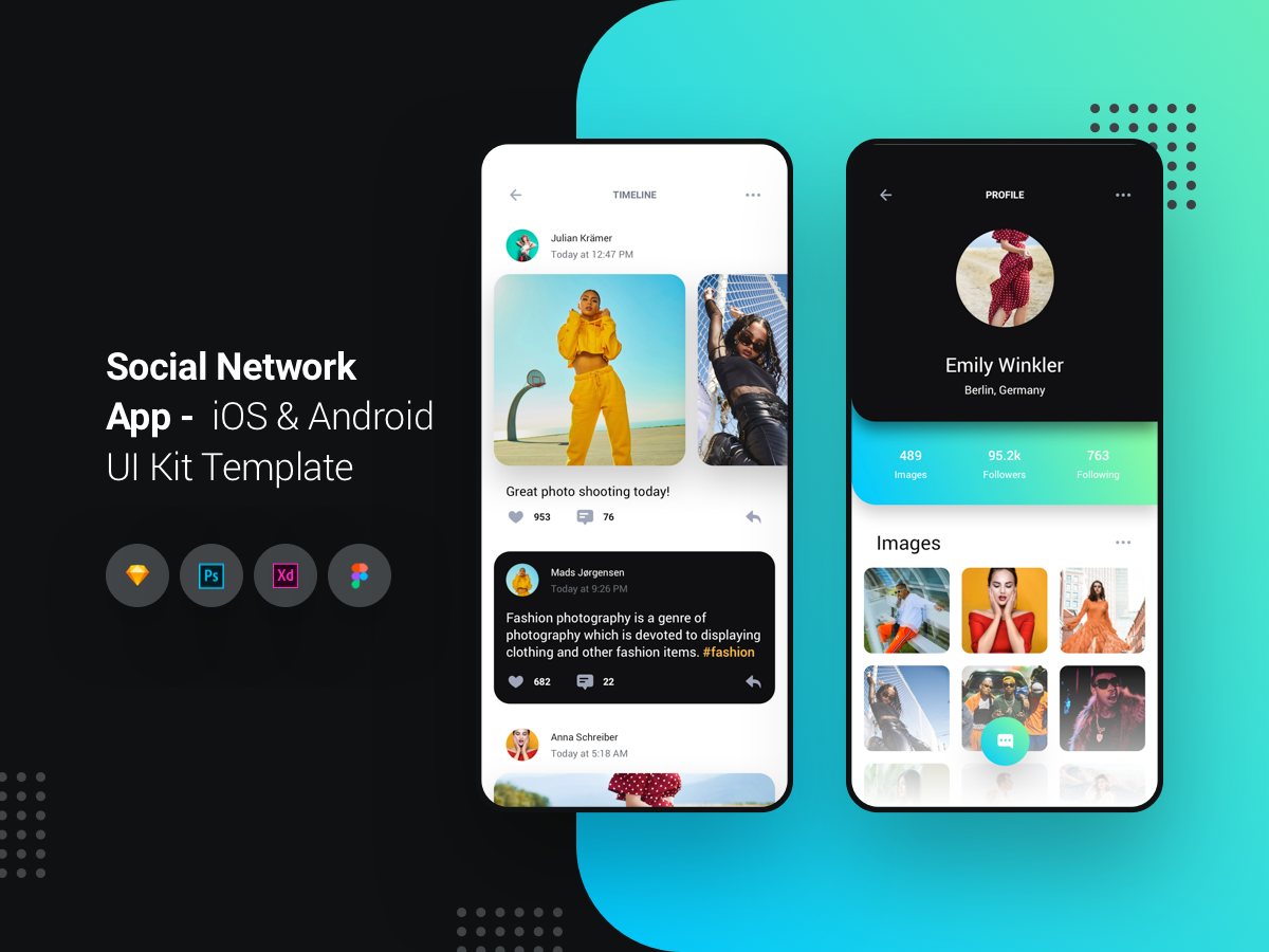 社交网络应用程序 -  iOS和Android UI工具包  Social Network App - iOS & Android UI Kit Template