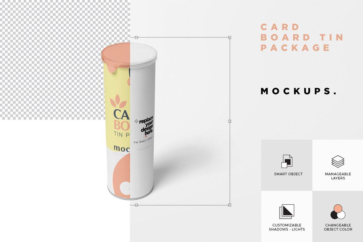 纸板管样机铝制包装盒子样机Cardboard Tube Mockups