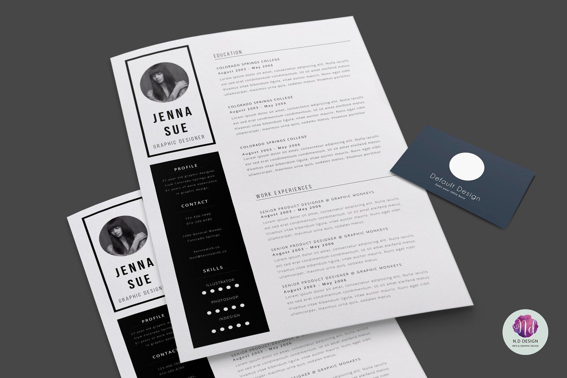 高端优雅高端黑色简历模版 2 page CV template
