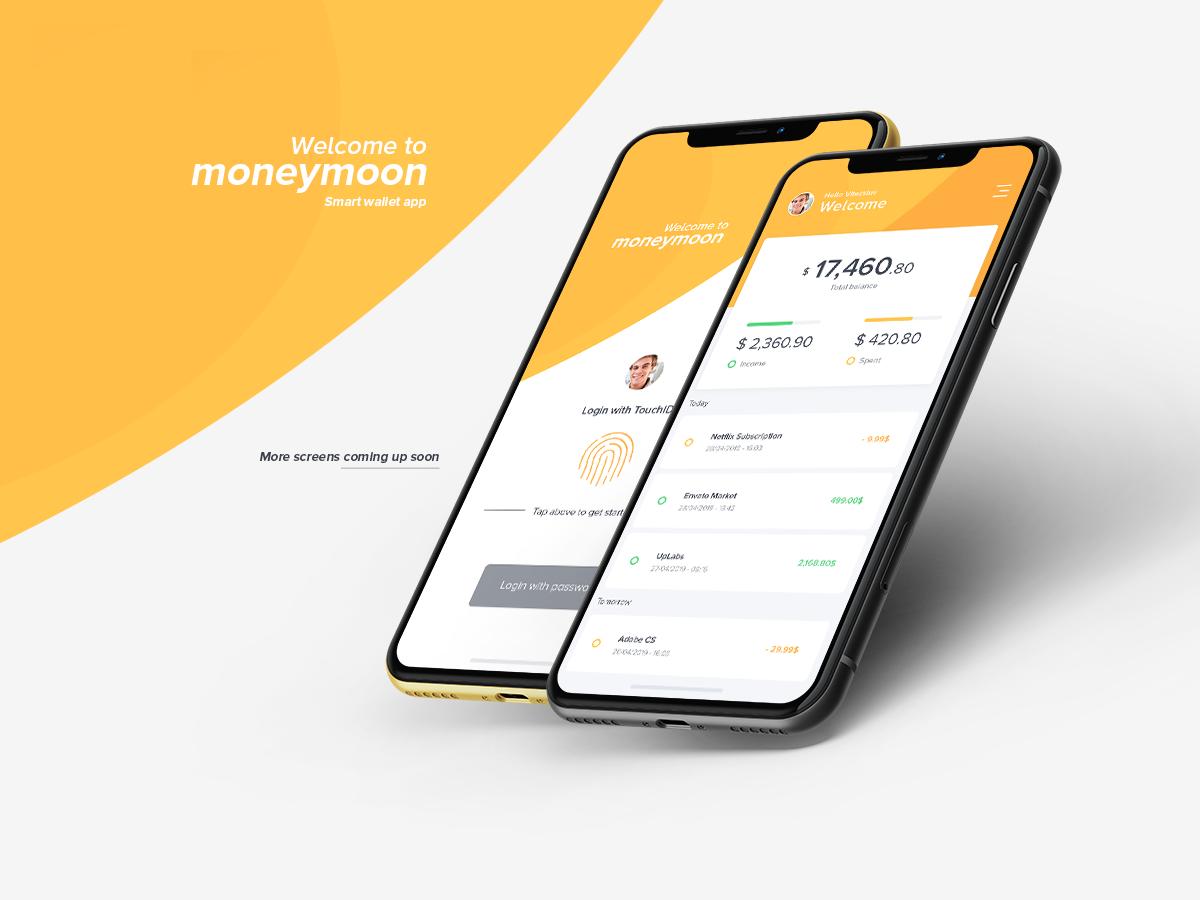黄色IOS风格金融行业 APP Moneymoon Wallet App