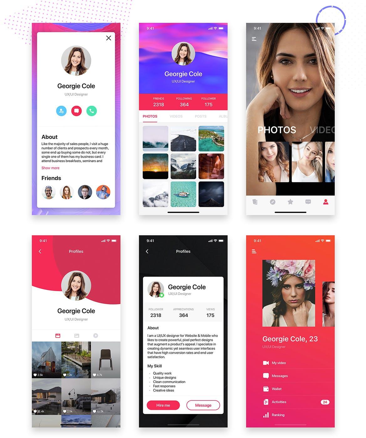 精美的个人社交分享UI页面APP Profile Mobile UI Collection