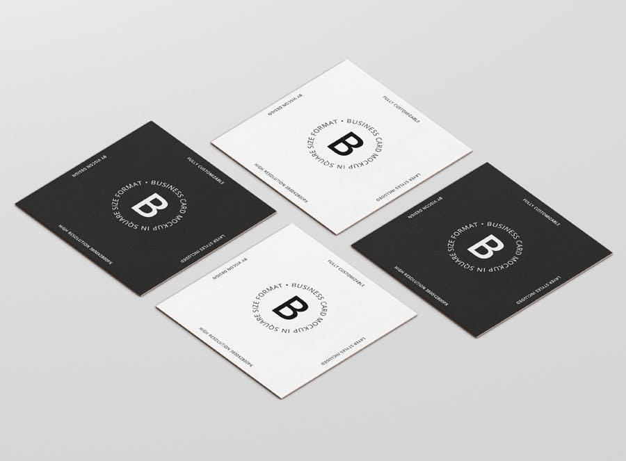 卡片设计展示样机模板  Business Card Mockup Square Format