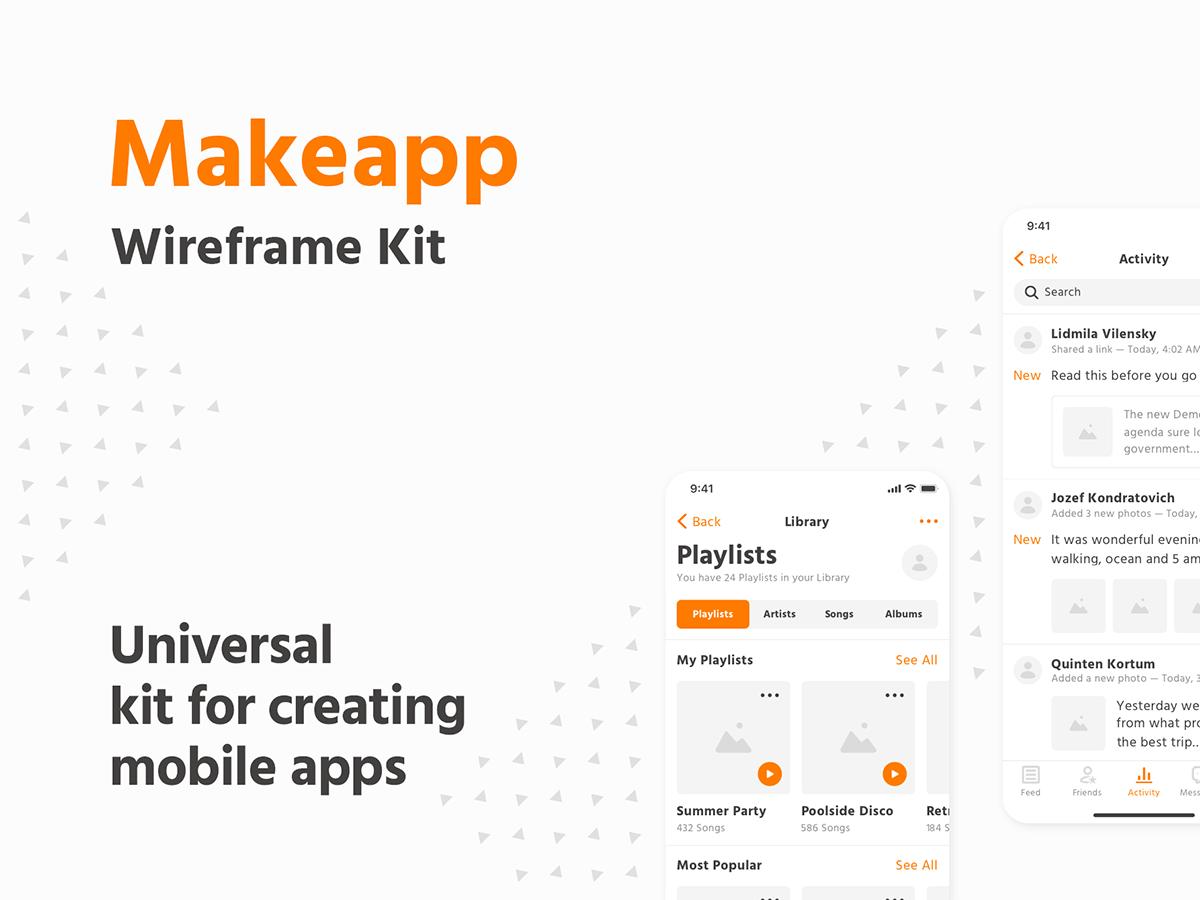 一款IOS风格线框图UI Makeapp线框套件