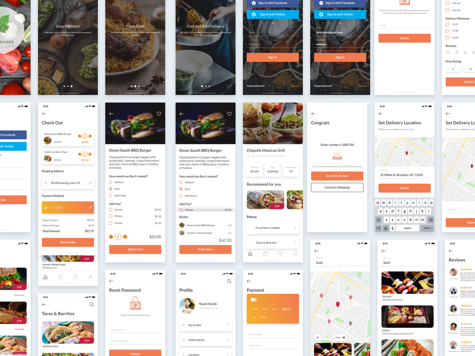 橘色扁平化饮食行业APP Mydonose Food Delivery UI Kit