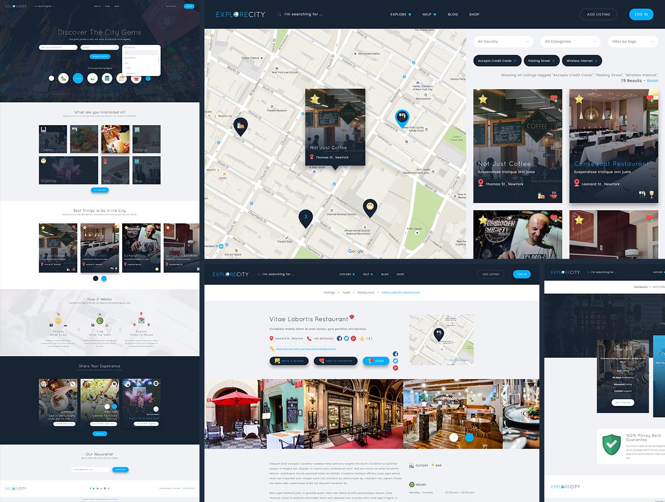 高品质WEB端电子商务网站Explore City Directory Template