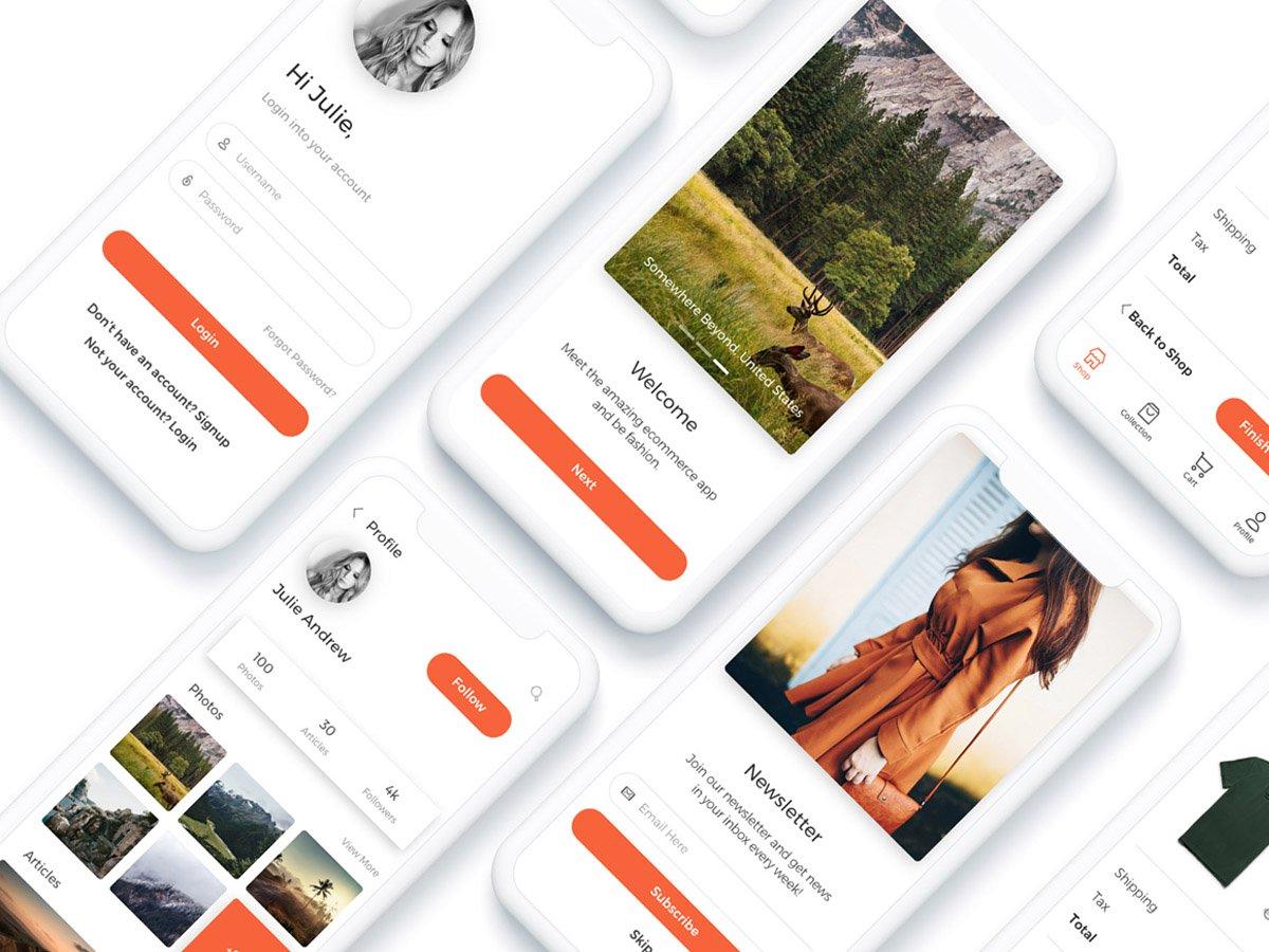 橙色扁平化购物APP  Now Mobile UI Kit