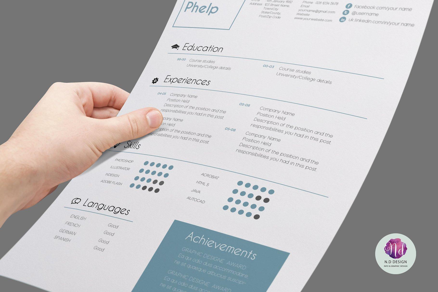设计个性的简历模板 2 color options resume package