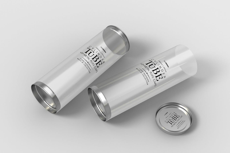 透明圆筒包装设计VI样机展示智能贴图样机180mm-cylinder-tube-packaging-mock-up