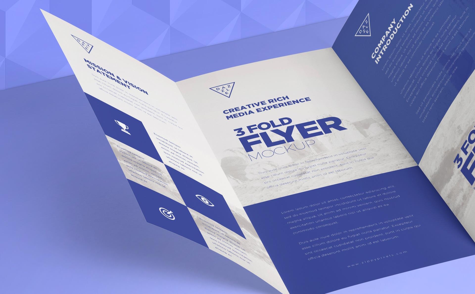 企业 多角度画册展示样机3 Fold Brochure Mockups