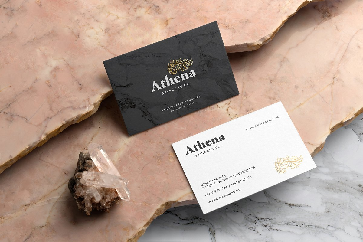 高端品牌设计轻奢风VI设计样机展示模型athena-branding-mockup