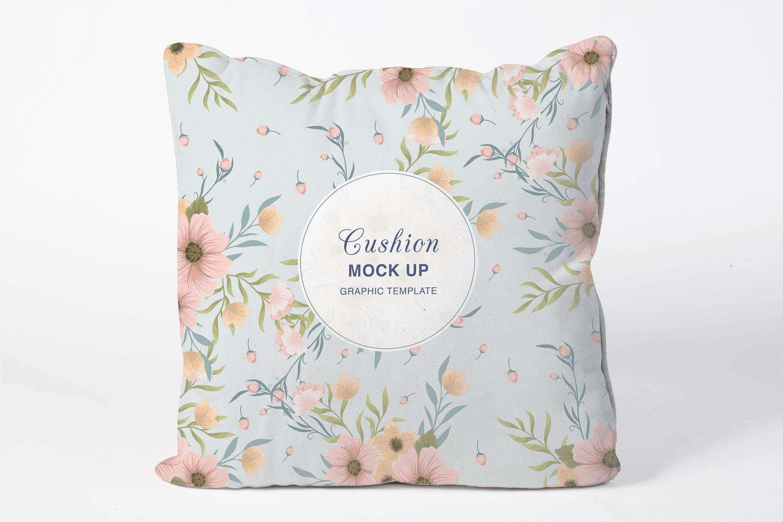 精致抱枕花纹样机模板展示智能贴图样机Square Cushion Mock Up