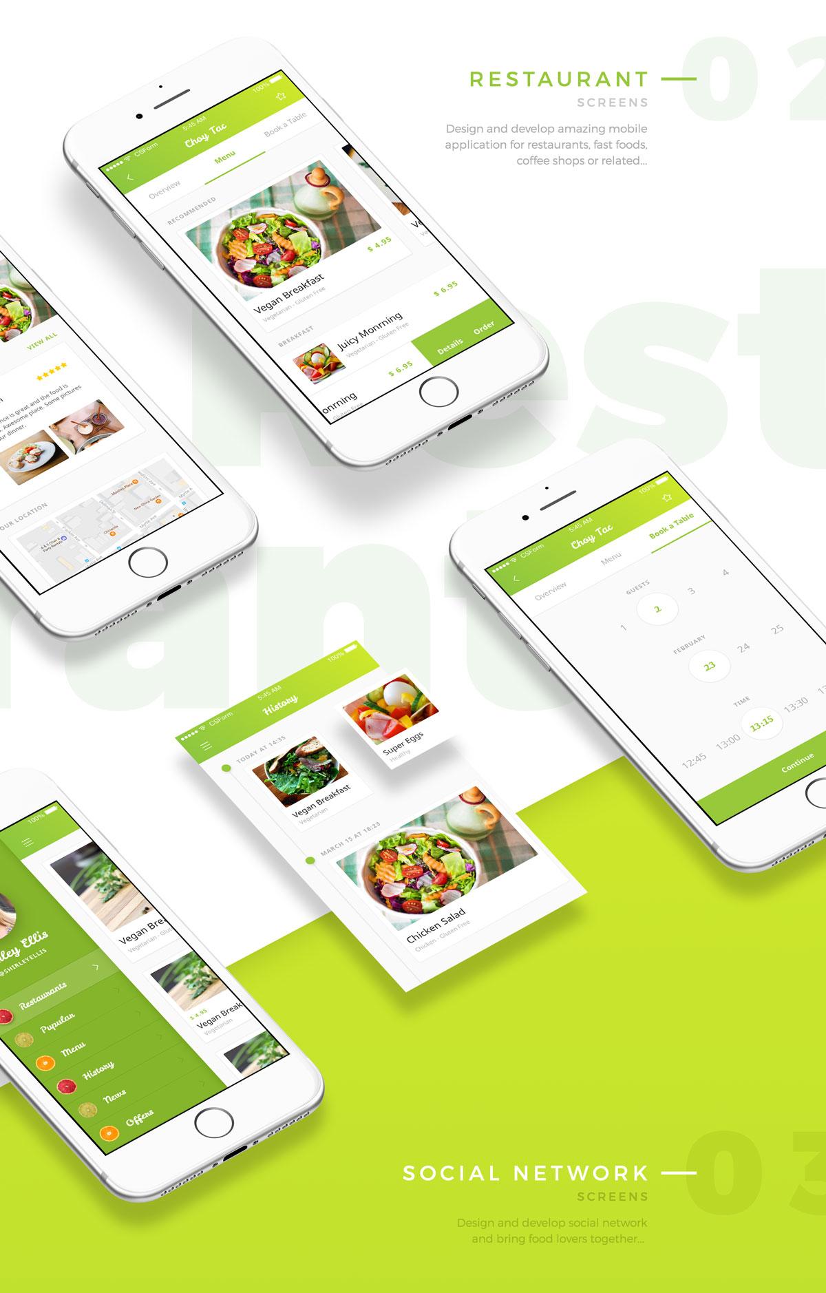 扁平化有机食品UI套件 - 1个UI套件中的4个APP应用 organic food UI KIT