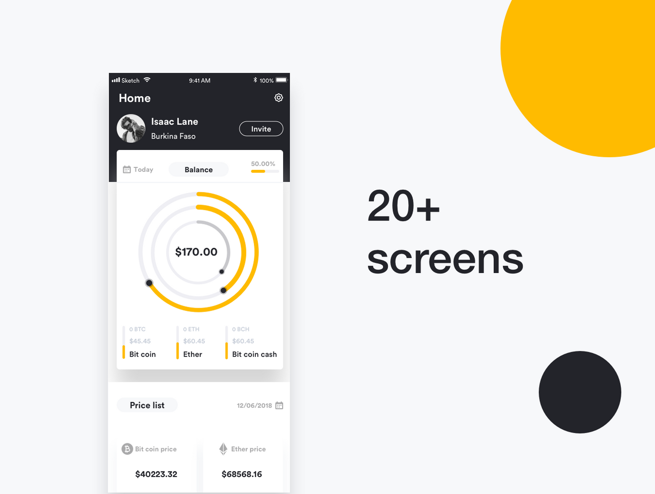 精美的黄色金融APP UI工具包 Blok Financial UI Kit