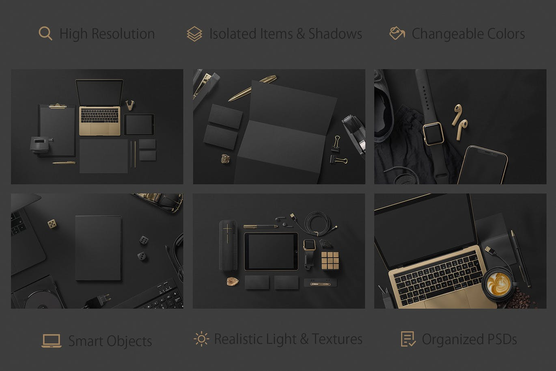 高品质场景VI品牌样机展示智能贴图样机Black Branding Mockups Vol.1