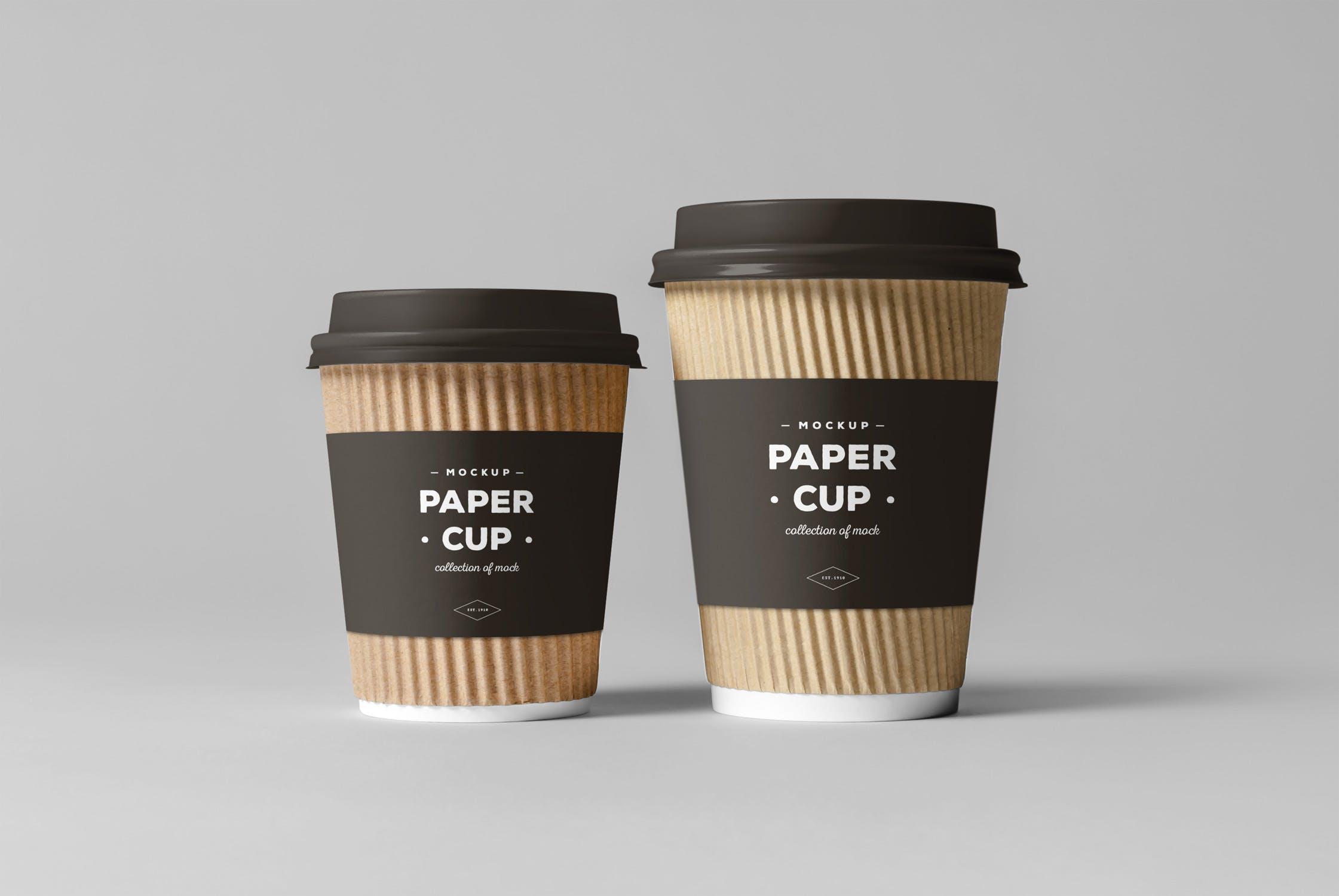热饮纸杯咖啡杯组合套装样机模板 素材纸杯子Paper Cups Mock-up