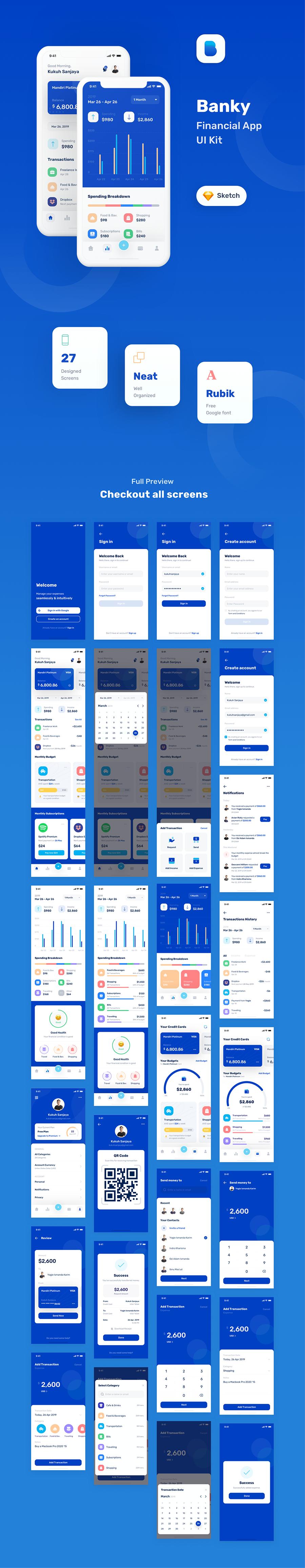 金融套装模板下载 iOS Ui app设计UI素材Banky - Finance App UI Kit