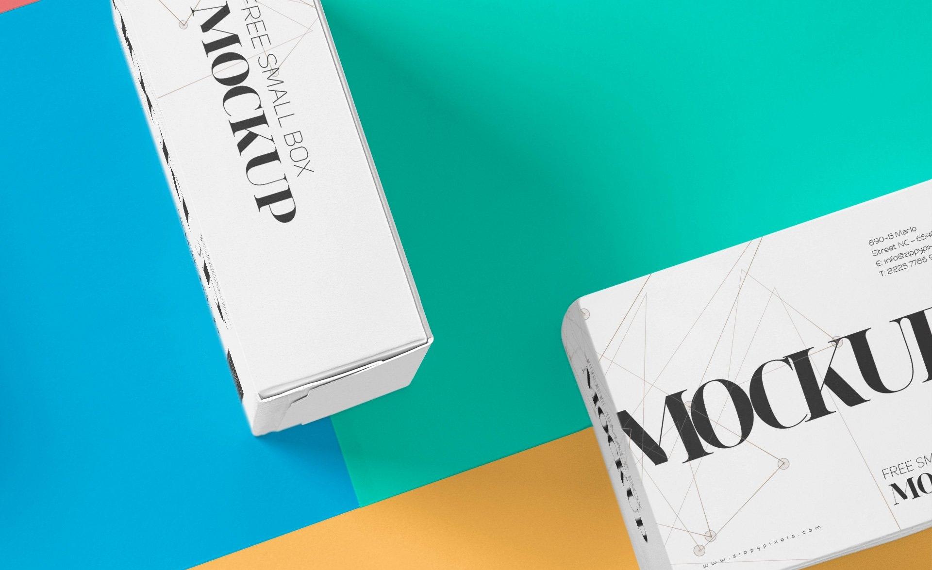 美丽多色的包装盒场景样机智能样机贴图275 small box mockup插图(3)