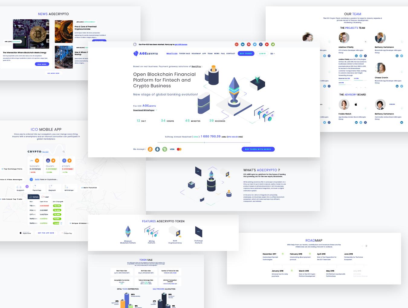 WEB端比特币虚拟数字货币数据科技行业网站 AGECrypto ICO Landing Page sketch