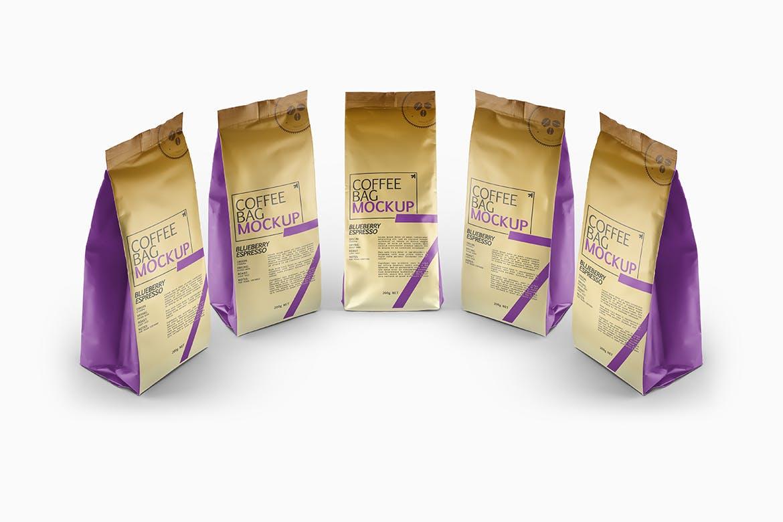 咖啡豆自封包装袋样机模板展示素材Coffee Bag Packaging Mockup