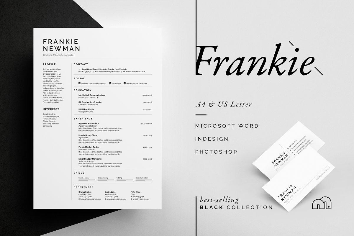 国外畅销系列黑白简历ResumeCV - Frankie