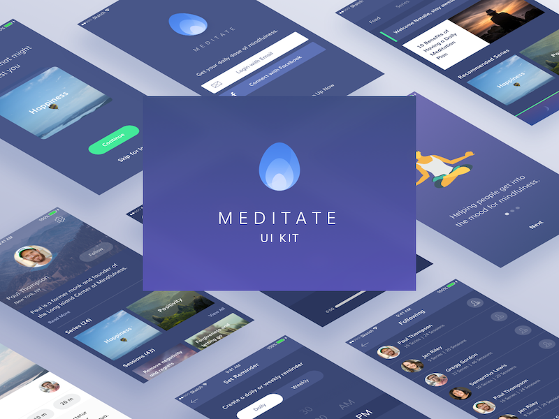 一款iOS风格瑜伽APP UI工具包 Meditate UI KIT