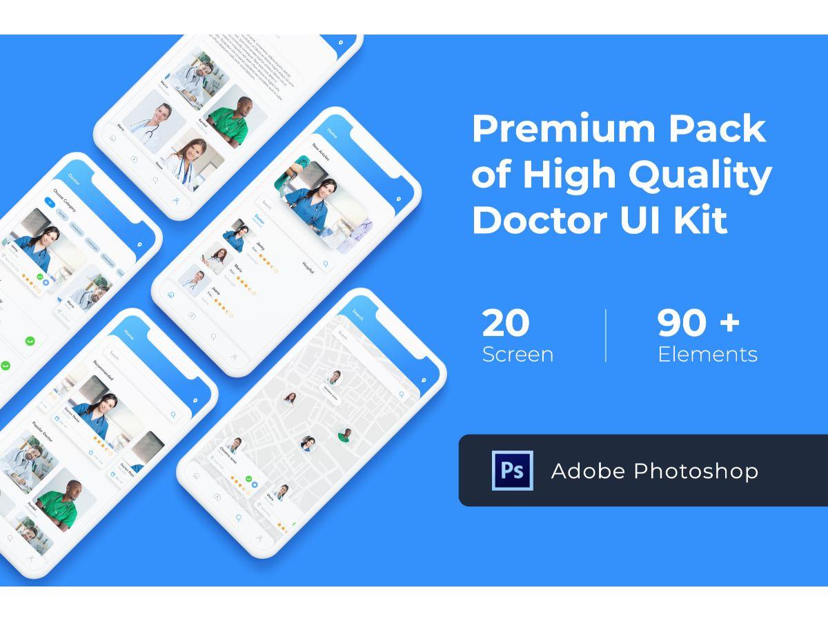 蓝色医疗行业APP Doctor App UI KIT for Photoshop