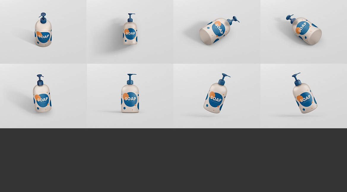 几何图形配色包装洗化产品设计样机 模板展示soap-dispenser-mockup-big-size-BN73RKQ