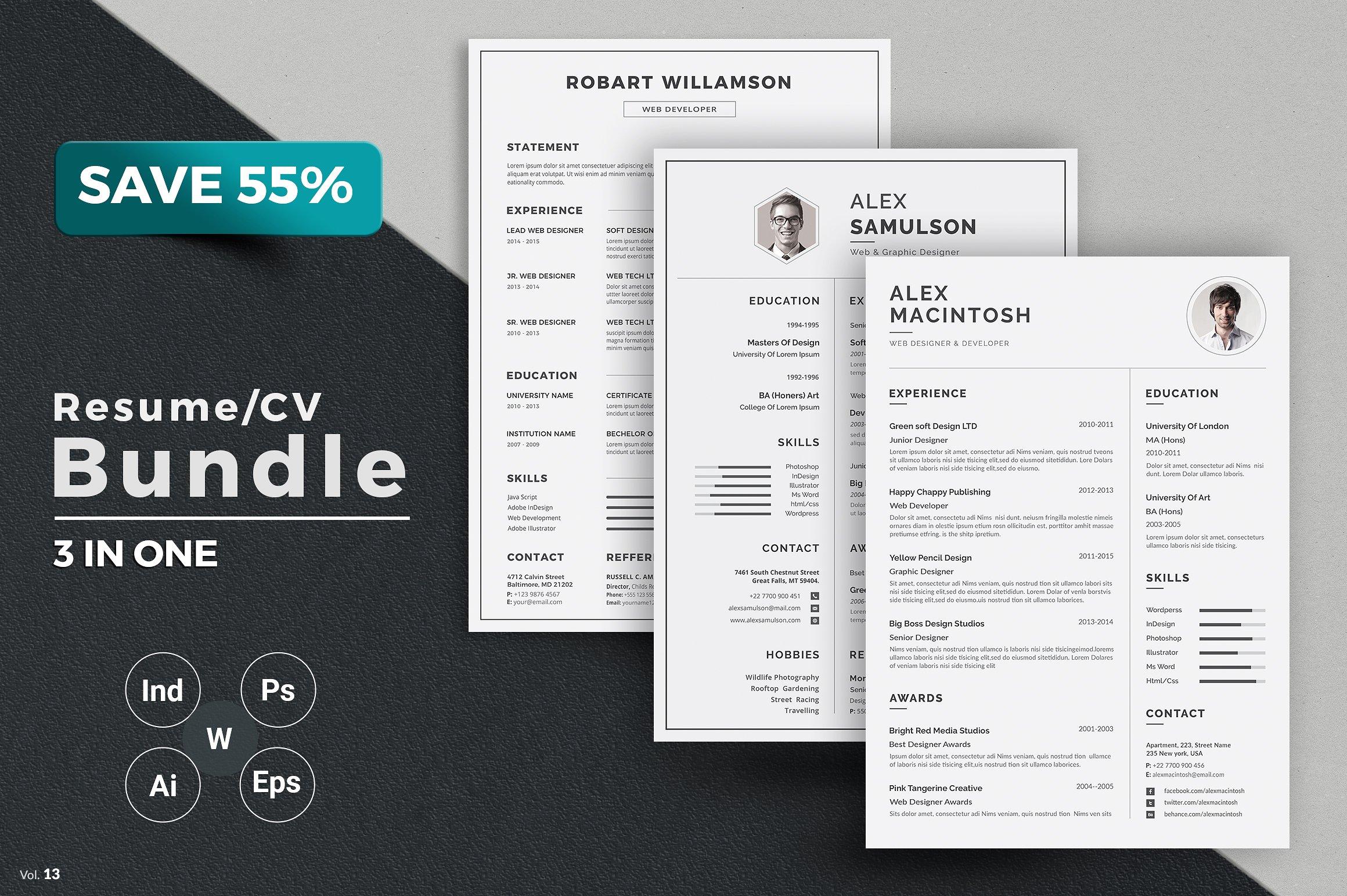 设计师必备高端简约个人简历设计模板大集合