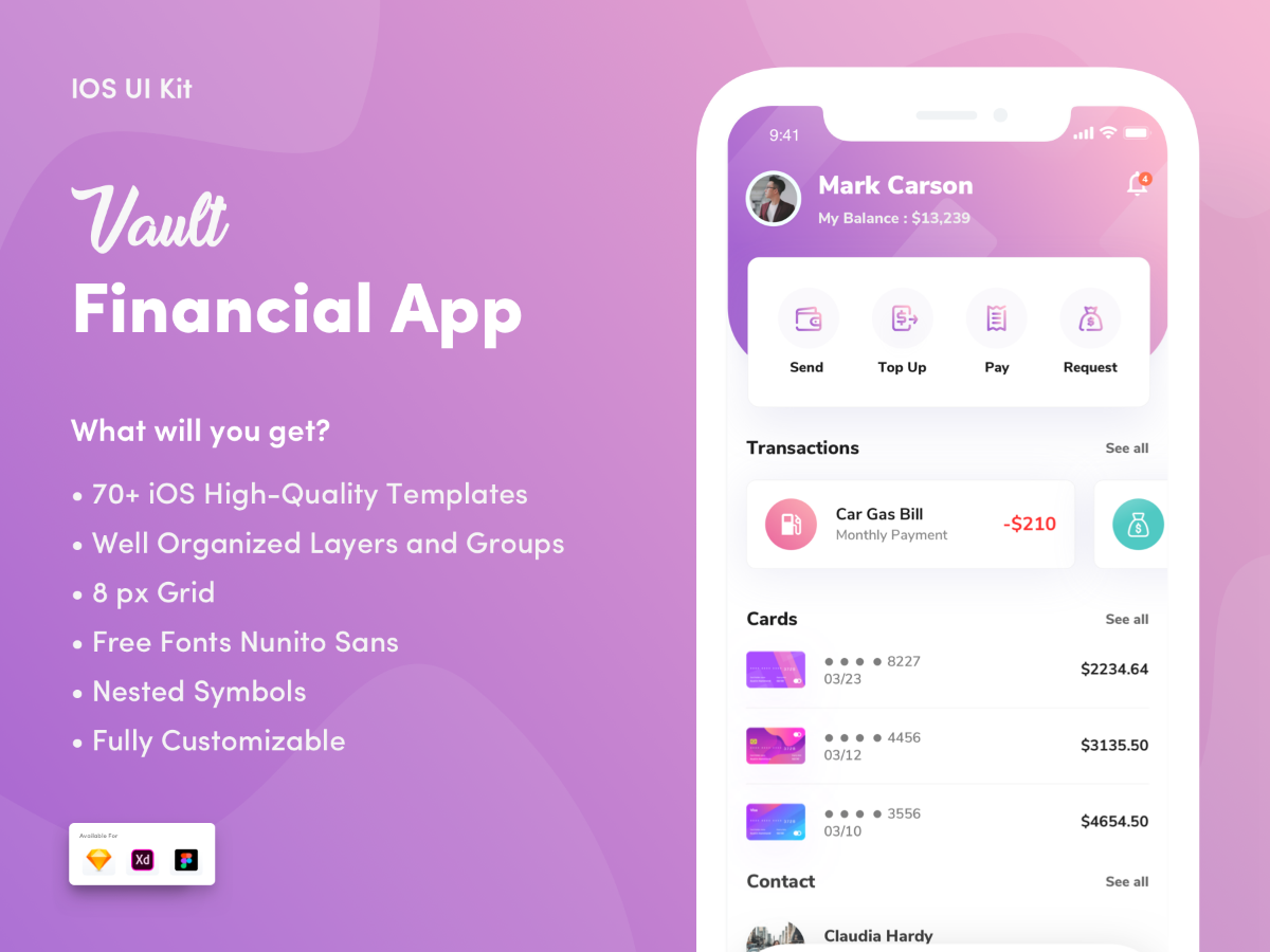 精美扁平化IOS12风格金融行业APP Vault- Financial App UI工具包