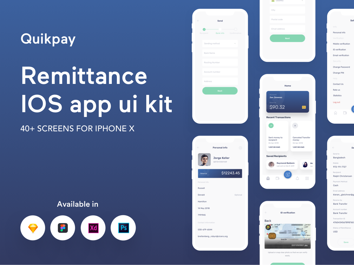 一款IOS风格金融支付APP  Quikpay Remittance IOS app ui kit
