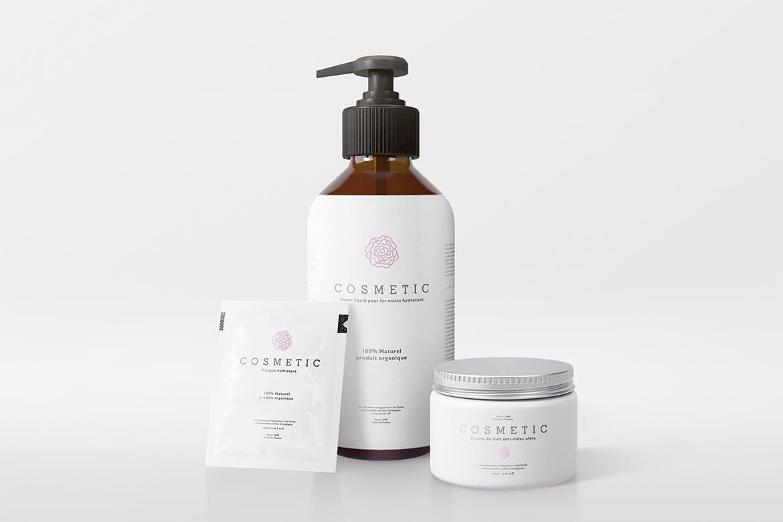 天然化妆品包装套装样机模板展示Natural Cosmetic Packaging Mock-Ups Vol.2