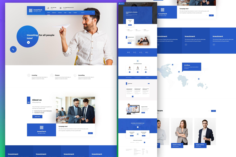 蓝色高品质WEB端商务办公网站 InvestTech - corporate and business PSD template