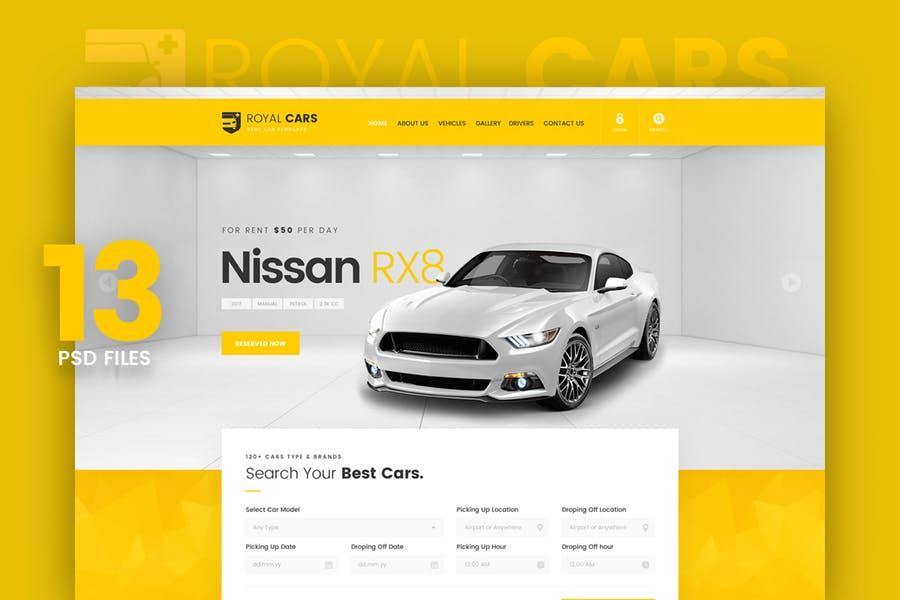 WEB端简约大气汽车销售行业网站 Royal Cars - Rent Car PSD Template