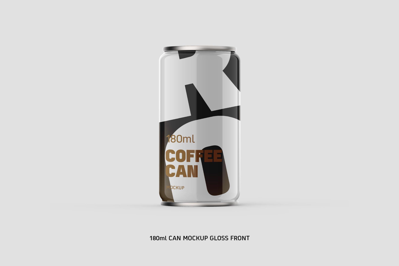 啤酒瓶样机素材模板展示样机Coffee Can w Bottom Cap 180ml Gross Eye Level
