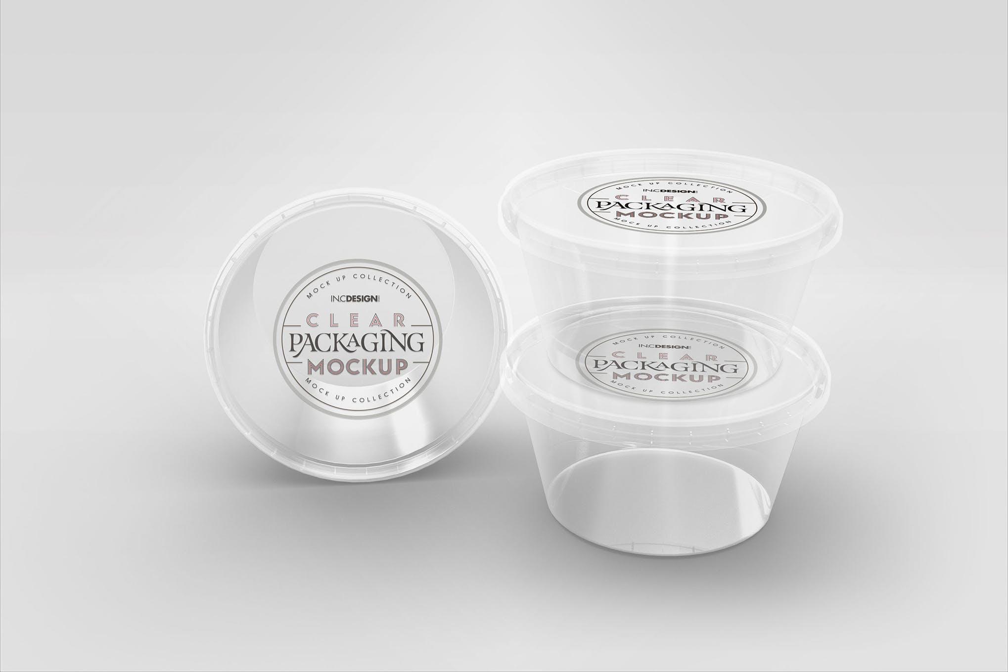 透明圆酱容器包装样机素材模板智能贴图 样机Clear Round Sauce Containers Packaging Mockup