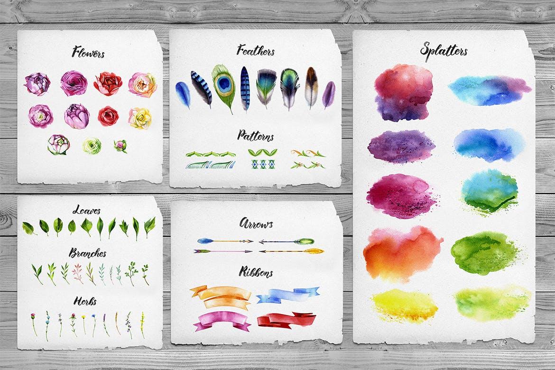 水彩手绘花朵元素图案背景纹理Watercolor Flowers