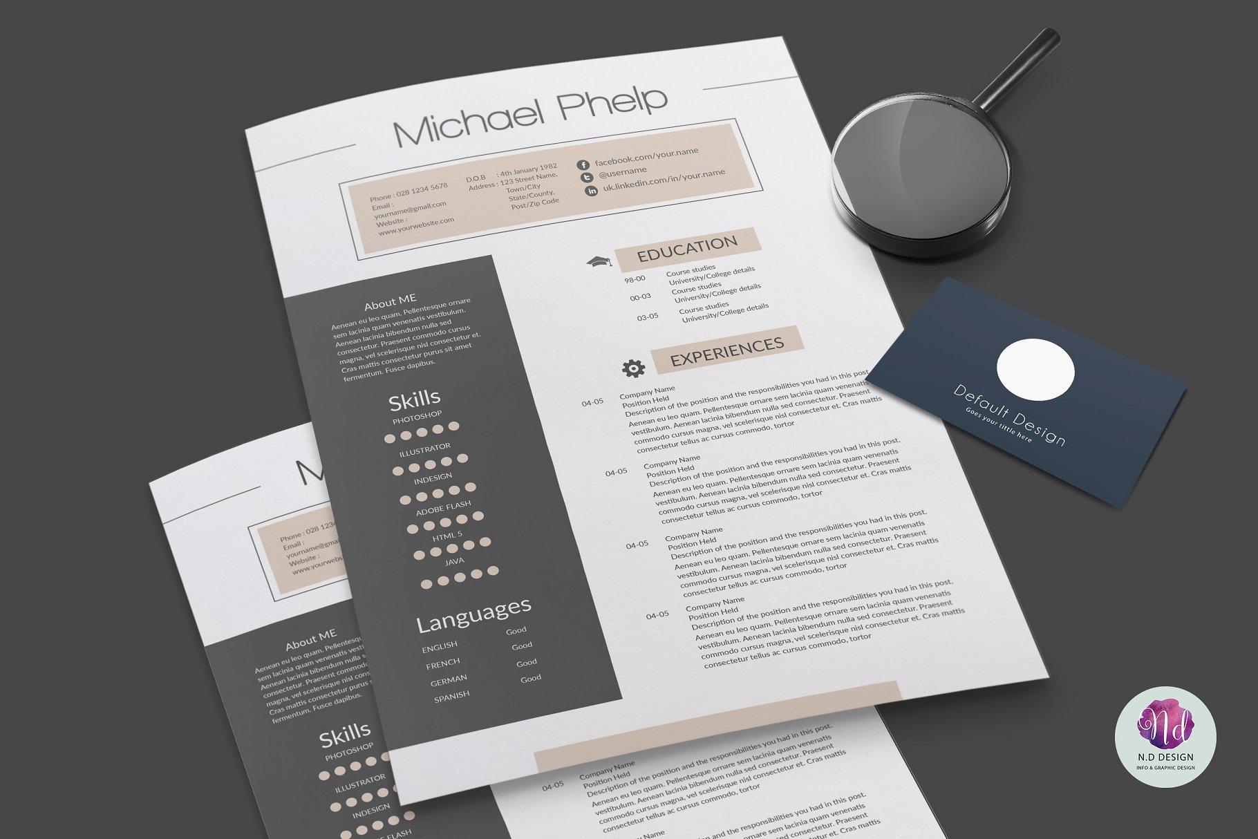 职场设计师精致简历模版 Professional resume template