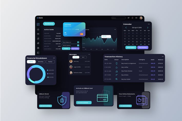 WEB端后台系统数据图表UI UB Bank Dashboard UI - T