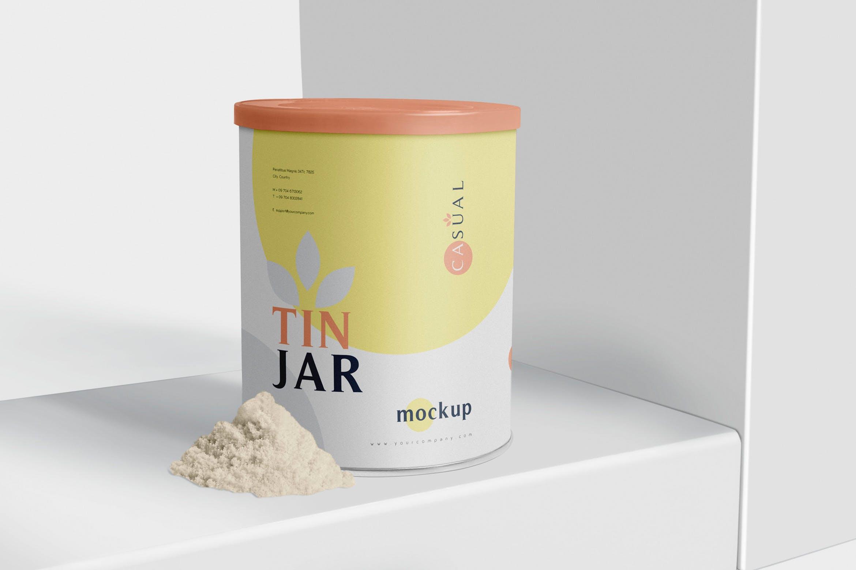 奶粉包装罐样机模板展示样机Tin Jar Mockups