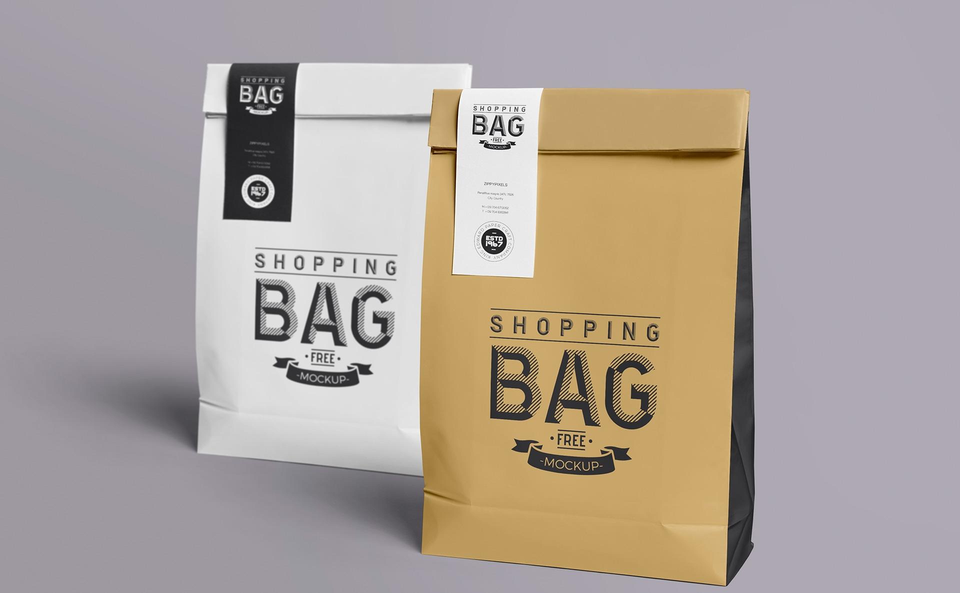 高端牛皮纸场景样机  标签样机146-shopping-bag-mockup-free