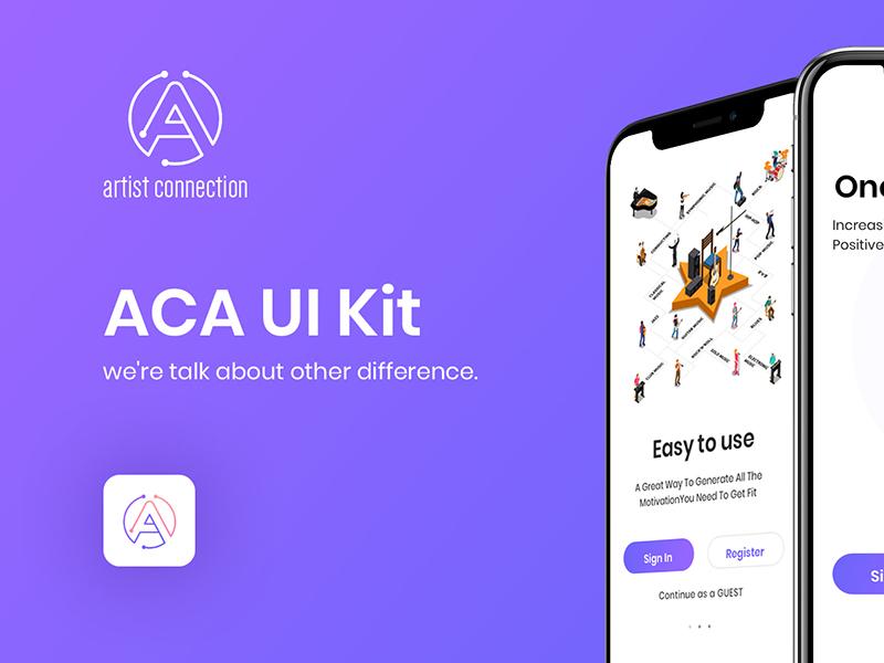 一款个性扁平化紫色风格音乐APP ACA UI KIT