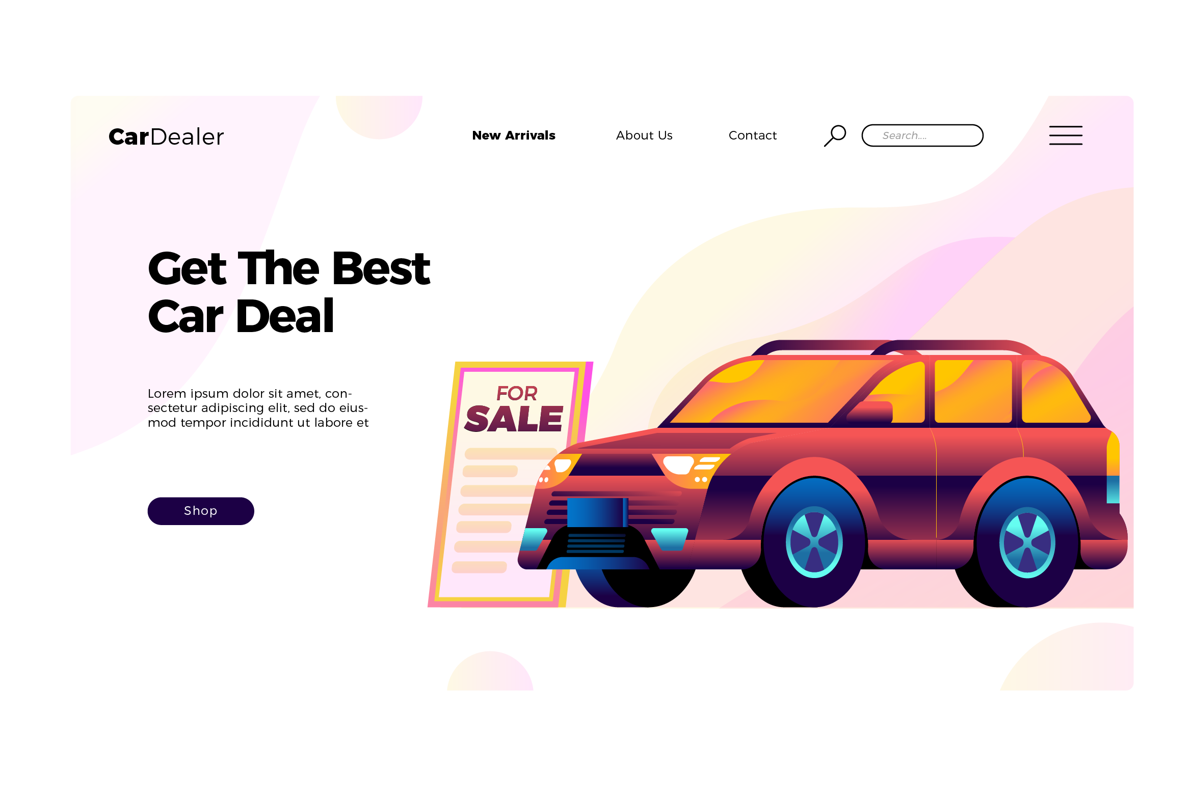 WEB端汽车插画风格登录页 Car Dealership - Banner and Landing Page
