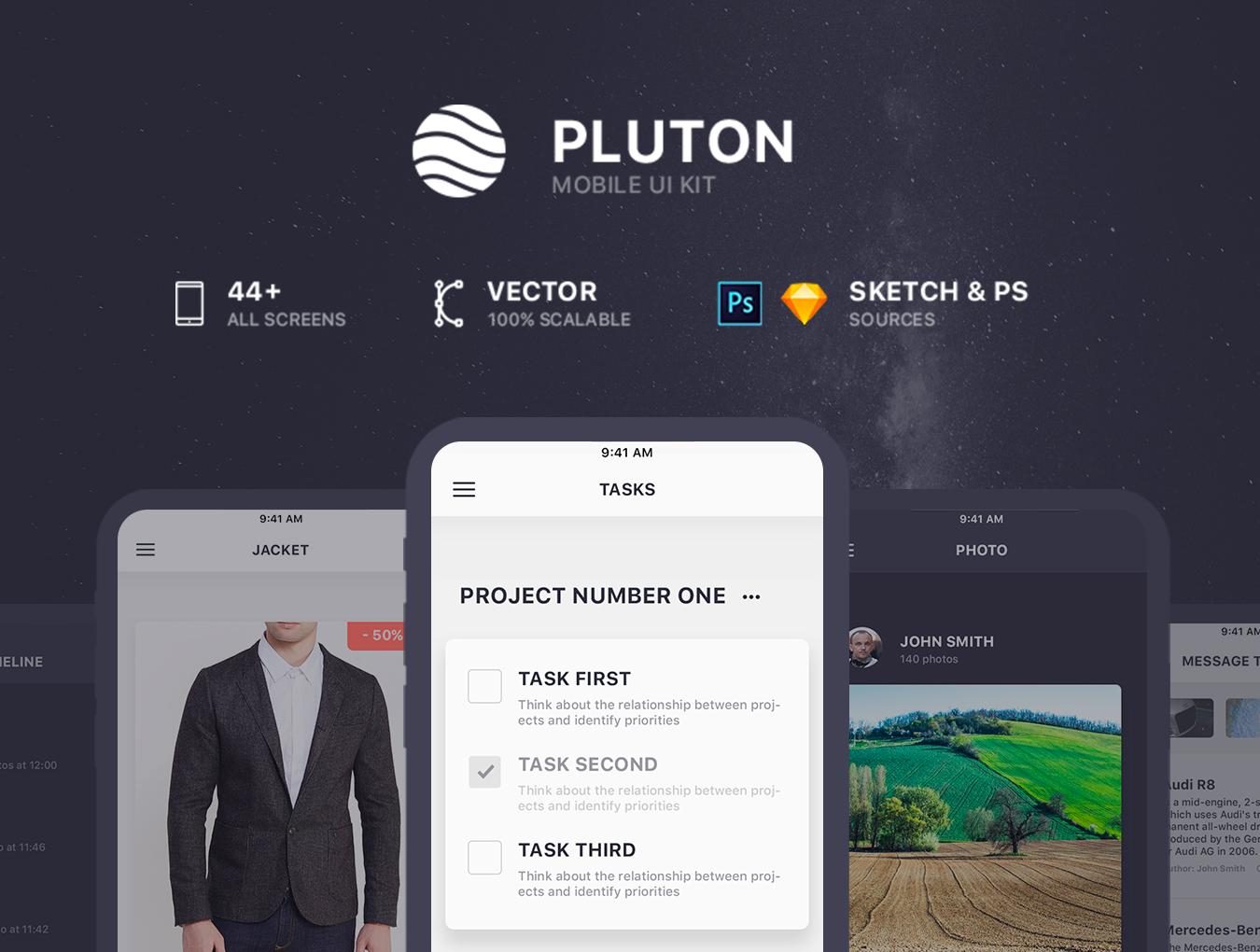 高品质时尚简约风服装电子商务APP Pluton.Mobile UI Kit
