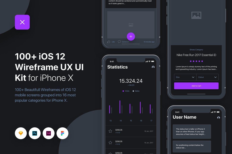 100+数据图表APP界面设计uixo-ios-12-wireframe-ui-ux-kit-iphone-x-UTZ6MG4-2019-04-13