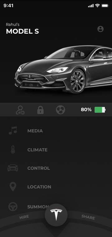 一款黑色汽车UI 特斯拉RoboTaxi App