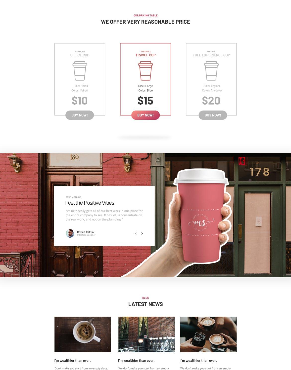 热饮杯咖啡产品系列介绍页  样机模板The Mug Creative Single Product Template Design
